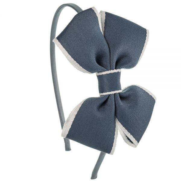 Diadema lazo mariposa de cinta ribete Azul Francia