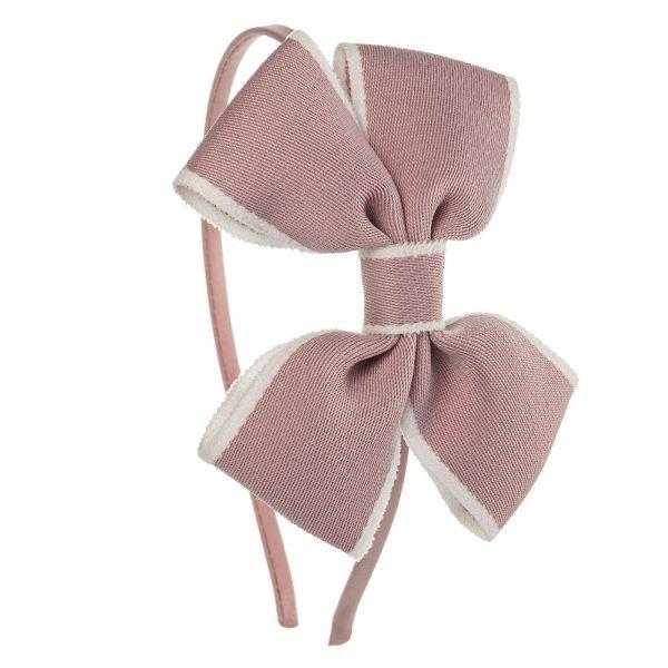 Diadema lazo mariposa de cinta ribete Rosa Francia