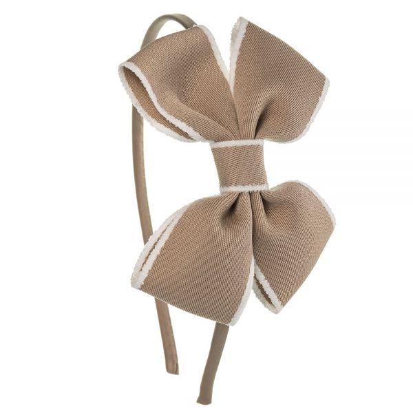 Diadema lazo mariposa de cinta ribete Cámel