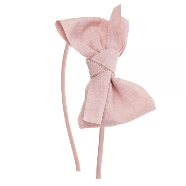 Diadema gran lazo de lino anudado Rosa Francia