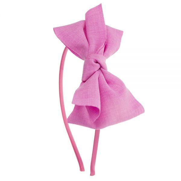 Diadema gran lazo de lino anudado Rosa Fucsia
