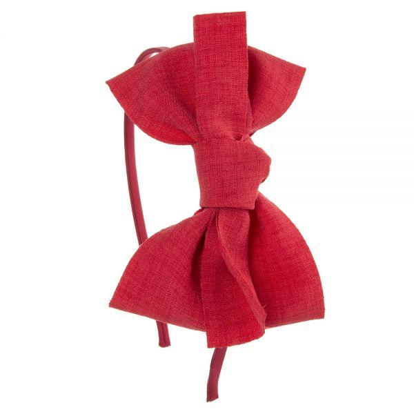 Diadema gran lazo de lino anudado Rojo
