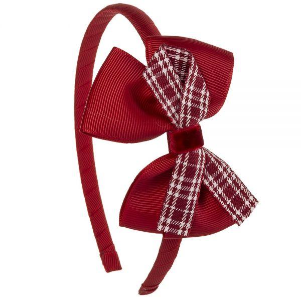 Diadema con lazo escocés y terciopelo Rojo