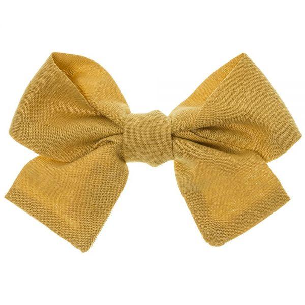 lazo para el pelo de lino liso color amarillo