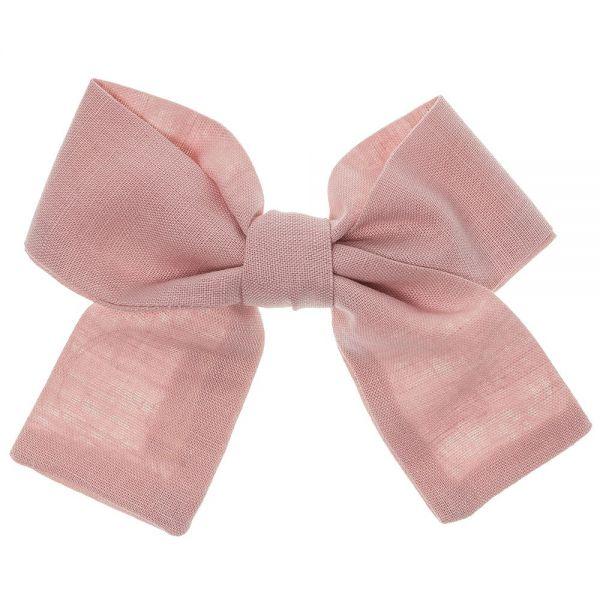 lazo para el pelo de lino liso color rosa pastel