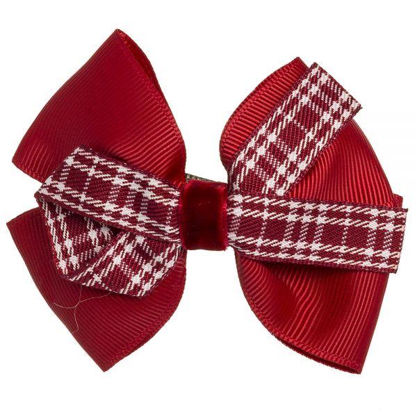 Lazo escocés terciopelo sobre clip pico-pato Rojo