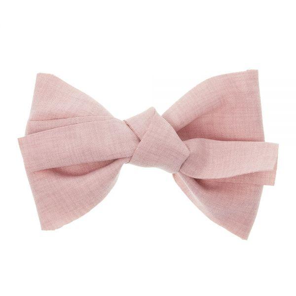 Gran lazo de lino con clip pico-pato Rosa Francia