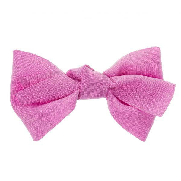 Gran lazo de lino con clip pico-pato Rosa Fucsia