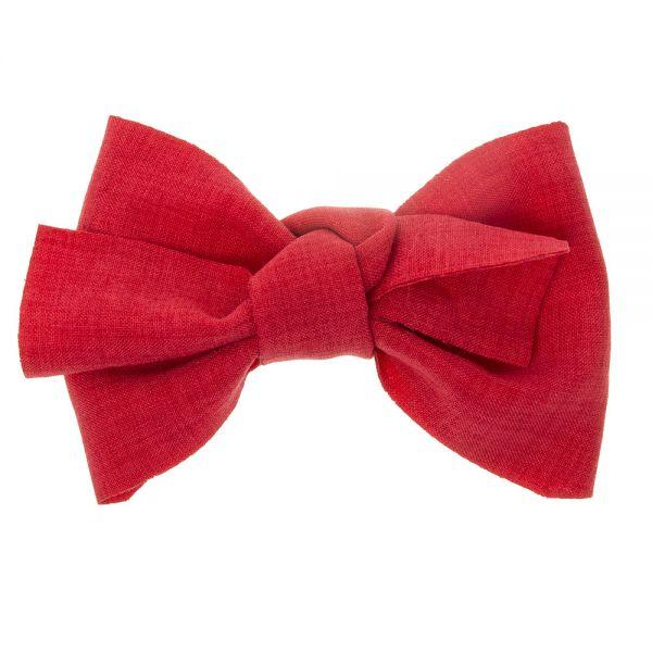 Gran lazo de lino con clip pico-pato Rojo