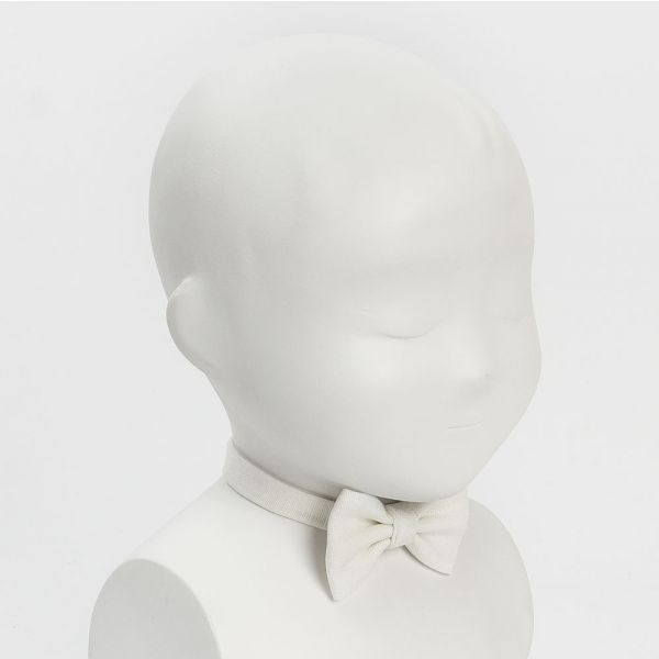 pajarita bebe niños lino blanco roto