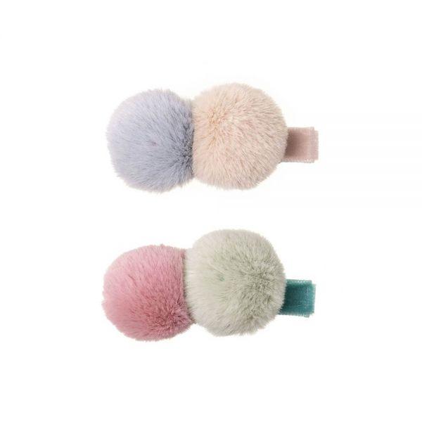 ganchitos para el pelo para bebé y niña de terciopelo y pompones