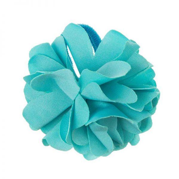 Coletero con flor de lycra® mediana 6 cm Azul Turquesa
