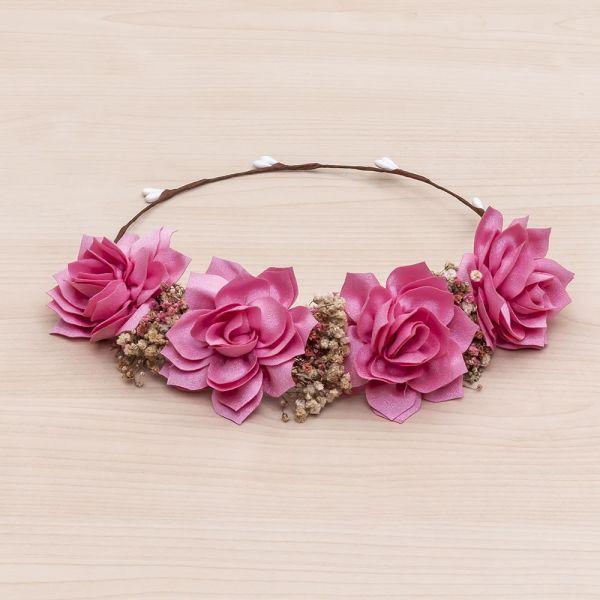 Corona floral de nenúfares Flor 04-Rosa Fucsia