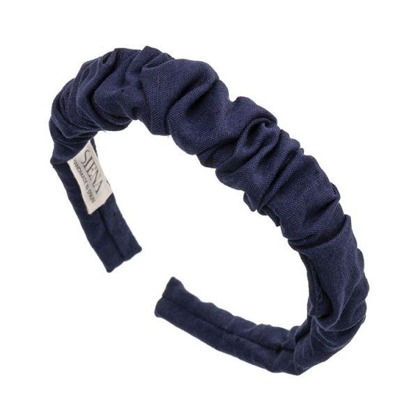 Diadema artesanal de lino fruncido Azul Marino