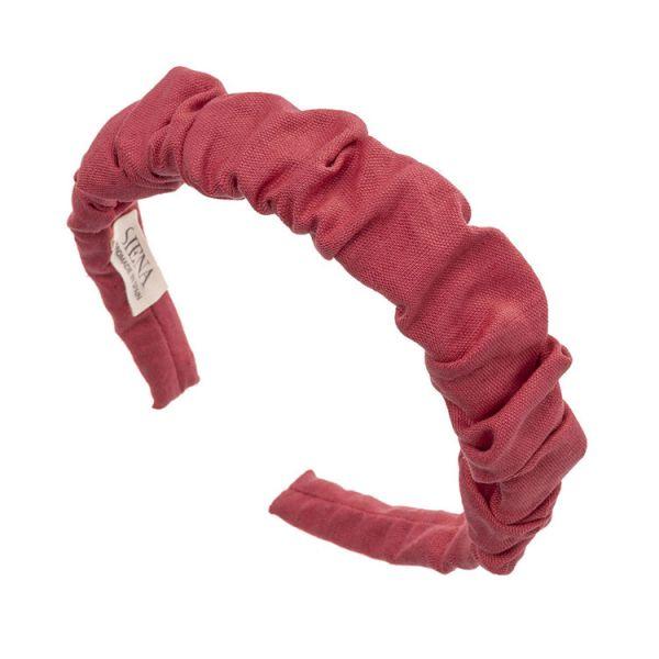 Diadema artesanal de lino fruncido Rojo