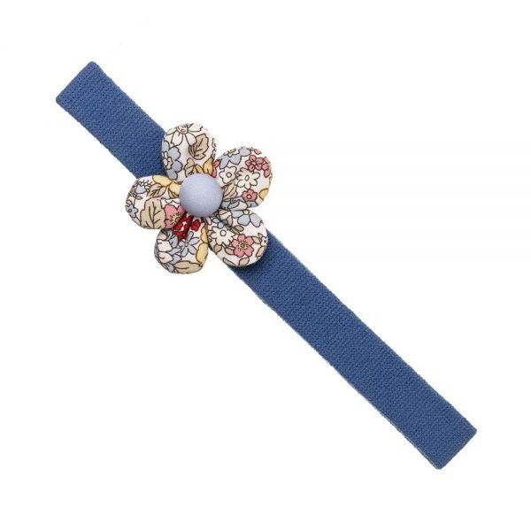 cinta pelo bebe azul con flor liberty