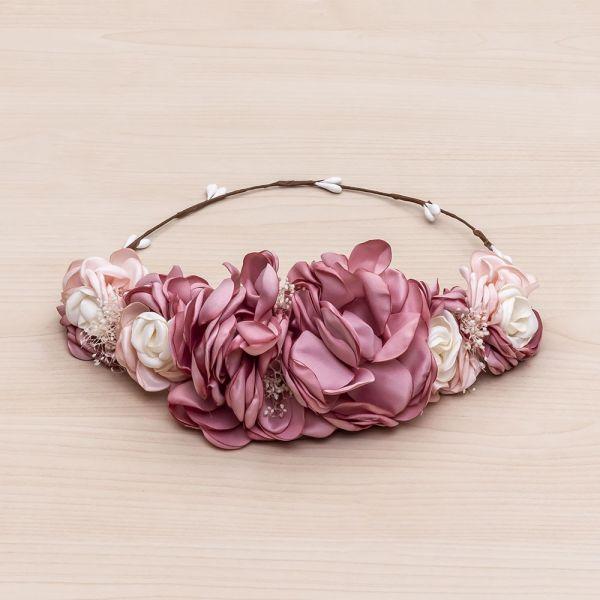 Media corona flores tricolor de satén -Rosa Francia