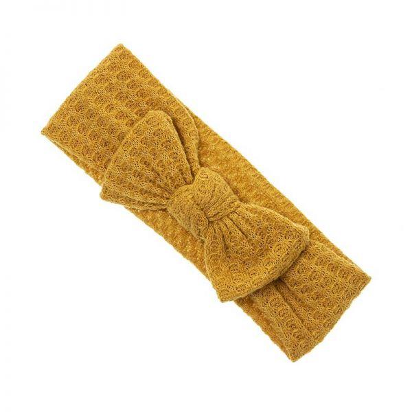 turbante lazo bebe punto amarillo mostaza