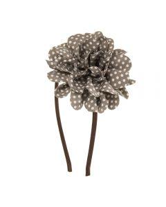 Diadema con gran flor con estampado de topitos
