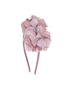 Diadema con flores de satén y lino rayado