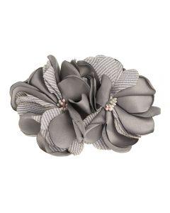 Tocado flores de satén y lino rayado