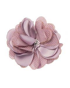 Flor de satén y lino rayado sobre clip pico-pato