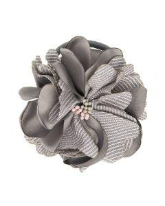 Coletero con flor de satén y lino rayado
