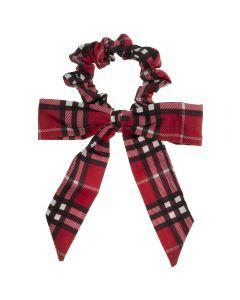 Coletero scrunchie de tela escocesa con lazo anudado