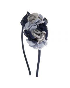 Diadema con flores de lino en colores combinados