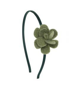 Diadema con flor de lana