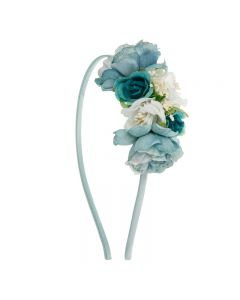 Diadema con bouquet de flores y gypsophila