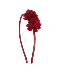 Diadema con flores pompón de tela