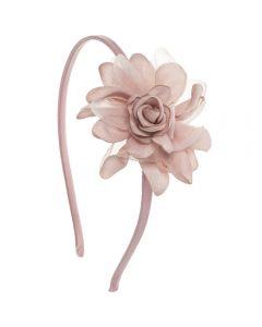 Diadema con flor de saten y gasa