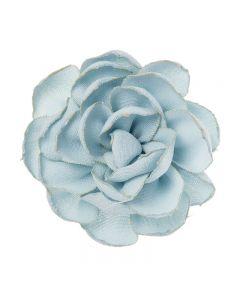 Flor de lino 6,5 cm. Sobre clip pico-pato
