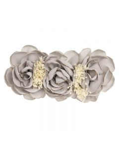 Tocado de flores de lino sobre clip pico-pato