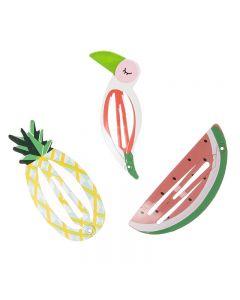 clips para el pelo piña, tucán y sandía
