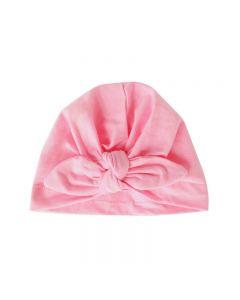 Turbante gorrito para bebé liso con lazo anudado