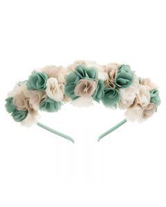Diadema con guirnalda de flores en colores combinados