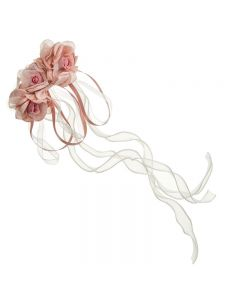 Tocado de rosas y cintas con pasador