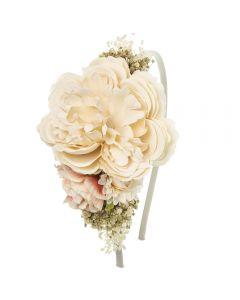 Maxi tocado de flores y gypsophila natural sobre diadema