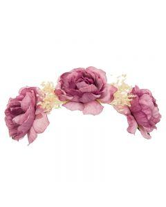 Tocado de flores en tonos degradados y flor seca natural