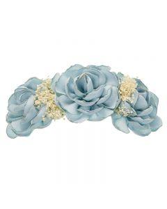 Tocado con flores de lino y flor seca natural