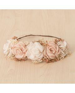 Corona con tocado floral de gasa y flor seca natural