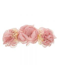 Tocado con 3 de flores tul y flor seca natural