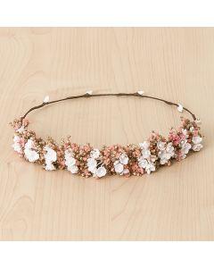 Media corona flores mini con paniculata y rafia