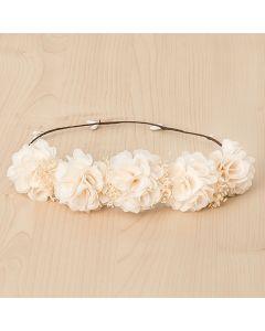Corona con flores tupidas y flor seca natural