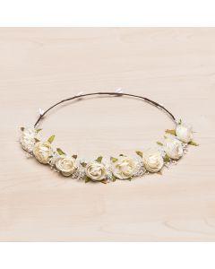 Corona tiara con pequeñas rosas y gypsophila natural