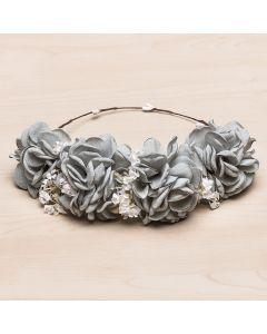 Corona con maxi flores de lino y flor natural