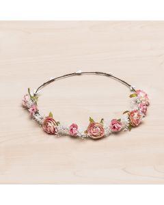 Corona tiara con pequeñas rosas 2 tamaños y gypsophila natural