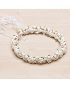 Corona floral de campanillas y organdí Jimena